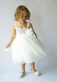 Off White Baby Tulle Dress with Empire Waist and by AylinkaShop