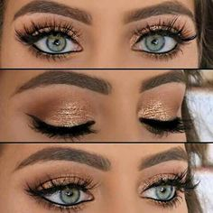 Gold eyeshadow with long lashes