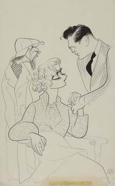 Al Hirschfeld sketch of Morris Carnovsky paying court to Stella Adler. The dude with the goatee is John Garfield. Stella Adler, John Garfield, Ligne Claire, Dramatic Arts, Black And White Portraits, Cartoon, Caricatures, Biography, Drawings