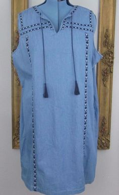 Women's Old Navy Denim Blue Chambray XXL  Sheath Dress  Zipper Cotton Embroidery #OldNavy #Sheath #Casual