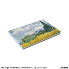 Vincent Van Gogh Wheat Field with Cypresses Vintage Art Guest Book  Order now for an old fashioned wedding for artists who appreciate beautiful impressionist paintings. Features a lovely pastel periwinkle blue along the side and back to match the swirly sky and clouds. Personalize with your name and wedding date in white on the fields.
