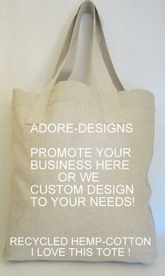 Recycled Hemp-Cotton-Poly Tote  Your Great Logo on our Awesome Tote