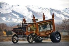 """1850 (c.) """"Boothill Express"""" Custom Show Rod. Est. 450 hp, 426 cu. in. Chrysler """"Hemi"""" V8 engine with Hilborn fuel injection, Chrysler A-727 TorqueFlite three-speed automatic transmission, CAE tubular straight front axle with transverse leaf spring, live rear axle with full-elliptic leaf springs, and two-wheel drum brakes. The Boothill Express remains a lasting tribute to the wild genius of Ray Fahrner, a custom car legend with an unbridled imagination."""