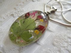 Tiny Red Roses, Queen Anne's Lace, Maidenhair Ferns, Dragonfly Pressed Flower Oval Resin Pendant-Symbolizes True Love, June's Birth Flower