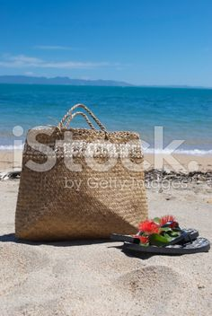 Kiwiana Christmas, Flax Kete with Jandals and a Pohutakawa stock photo 51812062 - iStock