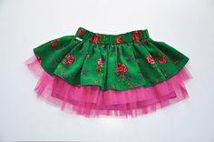 Folk tutu skirt by NinuMilu  Twirly girls skirt NOVELTY folk design green by NinuMiluBagDolls