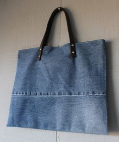 Denim Tote with Leather Straps, Two Interior Pockets and Lined with a Pink, Blue and White Floral Patterned Soft Cotton Fabric by AllintheJeans on Etsy