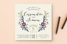 """Wildflower Crest"" - Floral & Botanical Wedding Invitations in Navy by Alethea and Ruth."