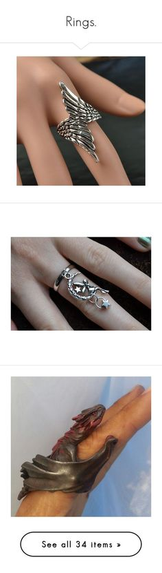 """""""Rings."""" by the-girl-with-the-dragon-tattoo ❤ liked on Polyvore featuring jewelry, rings, accessories, joyas, adjustable rings, gothic rings, angel wing jewelry, gothic jewellery, angel wing ring and silver plated charms"""