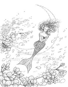Artist Mitzi Sato-Wiuff Mermaid Flowers Graceful Crescent Moon Myth Mythical Mystical Legend Mermaids Siren  Fantasy Mermaids Ocean Sea Enchantment Sirenas Coloring pages colouring adult detailed advanced printable Kleuren voor volwassenen coloriage pour adulte anti-stress kleurplaat voor volwassenen http://www.aurorawings.com/coloring-book-1.html
