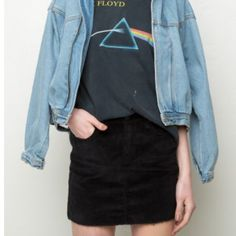 Brandy Melville Corduroy Skirt Brandy Melville black cord skirt with pockets, pretty tight fits 24 waist Brandy Melville Skirts Mini
