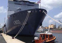 Royal Netherlands Navy amphibious transport ship HNLMS Rotterdam.