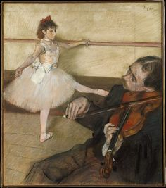 The Dance Lesson -  Edgar Degas - Pastel and black chalk on three pieces of wove paper, joined together