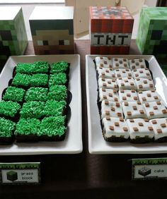 Minecraft Birthday Party Grass and Cake!  See more party planning ideas at CatchMyParty.com!