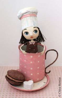 "Chloé Remiat ""Love Chocolate"" papier mache figurine - girl in a mug"