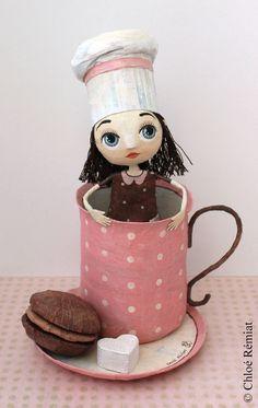 """Chloé Remiat """"Love Chocolate"""" papier mache figurine - girl in a mug"""