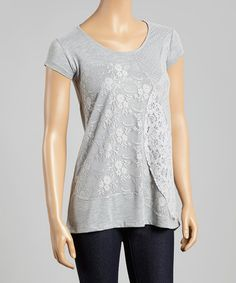 Look what I found on #zulily! Dark Gray Mélange Lace Overlay Scoop Neck Top by Dantelle #zulilyfinds