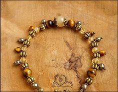 ~ Alliances éternelles ~ Bracelet Pyrite facettée, Citrine, Oeil de tigre, lanternes et métal bronze : Bracelet par atelier-bijoux-legendaires