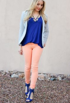 @Holly Richer-Zine werking the cobalt blue and peach combo with Lily Wang's Royal Deco Necklace!