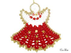 Crochet Christmas Angel, Hanging Christmas ornaments, Red and White Crochet Angel, Christmas tree decoration, Natale (Cod. 21)