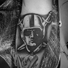 Unique Guys Oakland Raiders Tattoo Designs On Arm Raiders Tattoos, Guardian Angel Tattoo, Sport Tattoos, Oakland Raiders Fans, Raider Nation, Lifestyle Trends, Men's Football, Tattoo Designs, Tattoo Ideas