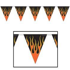 Flame Theme Pennants (12 each) - at Bulk Party Supplies