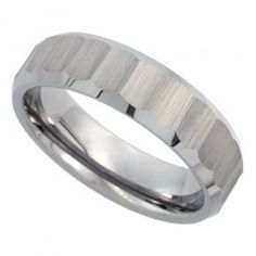 6mm Tungsten Wedding Band Ribbed Matte Diamond Cut Finish Bamboo Pattern Beveled Edges Comfort fit, sizes 5 to 10