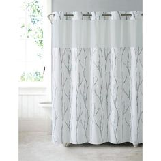 Floral embroidery brings a contemporary and romantic feeling to the Hookless Cherry Blossom Embroidery Polyester Shower Curtain . This durable polyester. Shower Curtains Walmart, Shower Curtain Sizes, Bathroom Curtains, Shower Liner, Shower Rod, Hookless Shower Curtain, Cherry Blooms, White Master Bathroom, White Shower