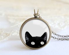 Black cat Necklace, cat jewelry, Silver Pendant Necklace, Resin Necklace, Resin Necklace, Resin Jewelry, Cat Pendant, Cat lovers gift N023