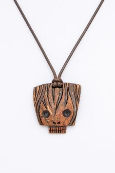 "Woodworking Face pendant ""Gorillaz"" from coconut shell Bohemian jewelry Gift for him New modern Artistic design urban jewelry  orange c - $47.20 USD"
