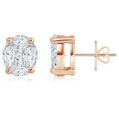 Over 1 Ct. Solitaire Look Illusion Set Diamond Basket Stud Earrings (168,730 PHP) ❤ liked on Polyvore featuring jewelry, earrings, handcrafted jewelry, hand crafted jewelry, diamond earrings, 18k earrings and stud earring set