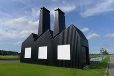 Little Factory is a three-dimensional oversized pictogram of an industrial zone made out of steel frame and corrugated steel roof sheets. It is situated at the Azeven Noord (along the N31) an industrial site in progress at Drachten (NL).   The work questions the architecture on business parks as well as the use of those sites. It's not only a landmark but it could be also used for an artist in residence program // project by Dutch artist Florentijn Hofman