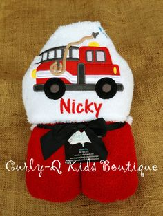 Personalized Fire Truck Hooded Towel by curlyqkidsboutique on Etsy, $27.00