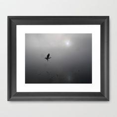 Seagulls in the Fog on  Lake Chiemsee Framed Art Print by Rainer Steinke - $40.00 seagull bird fog foggy lake bavaria