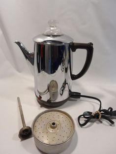VINTAGE Electric Percolator ARVIN Model 6000 Chrome art deco coffee pot USA MADE #ArvinColumbusIndiana
