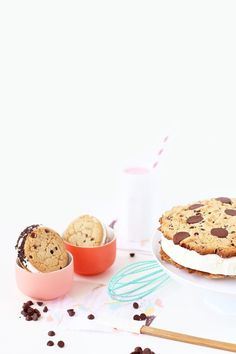 Giant chocolate chip cookie sandwich cake! Wow! #recipe