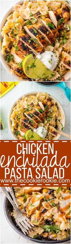 Chicken Enchilada Pasta Salad Recipe via The Cookie Rookie - This is bursting with flavor, super easy, and sure to please! Make it as indulgent or healthy as you'd like, you can't go wrong! Loaded with corn, beans, taco spiced chicken, onion, cilantro, and cheese. YES PLEASE! Easy Pasta Salad Recipes - The BEST Yummy Barbecue Side Dishes, Potluck Favorites and Summer Dinner Party Crowd Pleasers