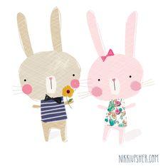bunny, rabbit, drawing, character, design, print, illustration, Easter, kids, cute