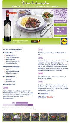 Biefstuk met Italiaanse tomatensaus en pasta - Lidl Nederland