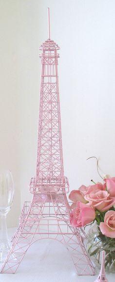 Eiffel Tower Light Pink 28 Inch  Wire Metal by ItsAllAboutParis