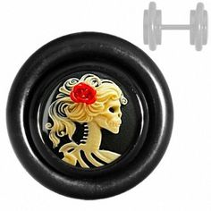 Black Rose on the Piano Cheater Plug Fake Plugs, Gauges Plugs, Red Rose Flower, Red Roses, Skulls And Roses, Black Acrylics, Cheaters, Sport, Body Mods