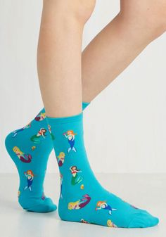 All I Do is Swim Socks. You dont play games when it comes to quirky style, especially when it comes to these whimsical sea socks! #blue #modcloth