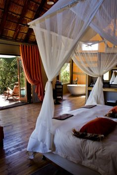 Bush Lodge - Amakhala Game Reserve, South Africa (no red Bush, but hey you can't have it all ; Safari Bedroom, Travel Bedroom, South Africa Holidays, Game Reserve South Africa, African Interior, Ethnic Decor, Luxury Tents, Lodge Decor, Rustic Elegance