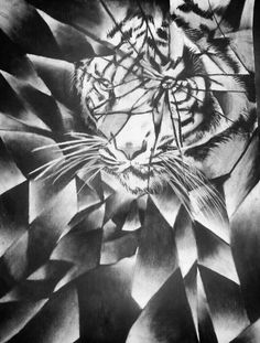 Tiger Shattered Value - Charcoal by GloriaMarie74 on DeviantArt