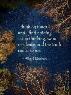 think 99 times and I find nothing. I stop thinking, swim in silence, and the truth comes to me. I think 99 times and I find nothing. I stop thinking, swim in silence, and the truth comes to me. Quotable Quotes, Wisdom Quotes, Quotes To Live By, Me Quotes, Motivational Quotes, Inspirational Quotes, Motivational Affirmations, Affirmations Success, Qoutes