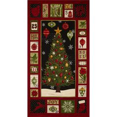 """Moda Christmas Countdown Panel Midnight Black from @fabricdotcom  Designed by Deb Strain for Moda, this 23"""" x 45"""" cotton print fabric panel is perfect for quilting, apparel and home décor accents."""