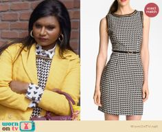 Mindy's black and white chain trim dress on The Mindy Project.  Outfit Details: http://wornontv.net/31151/ #TheMindyProject