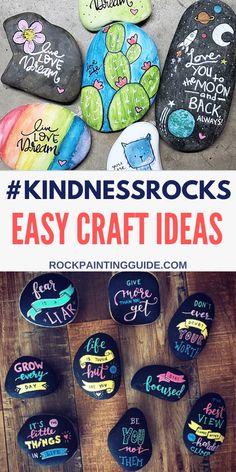 #kindnessrocks Craft Ideas for fun family activities to try. Rock Painting Guide has a mega collection of inspirational kindness messages and painted rock ideas. #rockpainting #kindnessrocks #paintedrocks Creative Activities For Kids, Easy Crafts For Kids, Easy Diy Crafts, Creative Kids, Family Activities, Diy Craft Projects, Diy For Kids, Craft Ideas, Work Activities