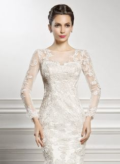 Trumpet/Mermaid Scoop Neck Chapel Train Lace Wedding Dress With Beading Sequins (002057227) - JJsHouse