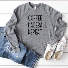 Baseball Mom Sweatshirt Baseball Sweatshirt Baseball Mom Shirt Coffee Baseball Repeat Baseball Shirt Baseball - Mom Shirt - Ideas of Mom Shirt - Baseball Mom Shirts, Baseball Game Outfits, Aunt T Shirts, Baseball Stuff, Baseball Cleats, Baseball Pants, Baseball Girlfriend, Girlfriend Gift, Sports Shirts